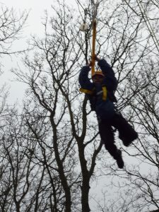 Leaping for the trapeze - very brave!