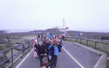Year 1 climb 137 steps to the top of St Mary's Lighthouse!